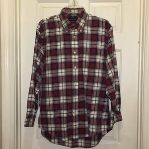 Land's End red green plaid shirt in EUC. 16.5 , 33